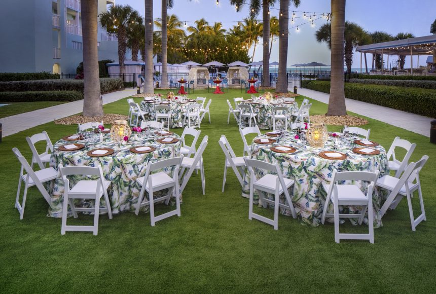 Corporate dinner on the Event Lawn with chairs and round tables
